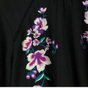 Express Black Embroidered Mock Neck Top